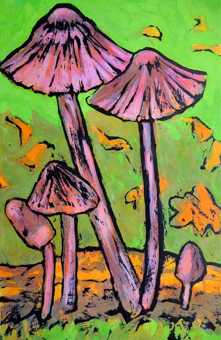 Fungi on oak twig - Jenny Hill - acrylic ink, indian ink
