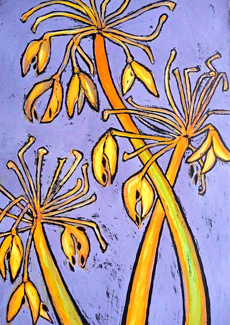 Agapanthus winter seed head - ink - Jenny Hill