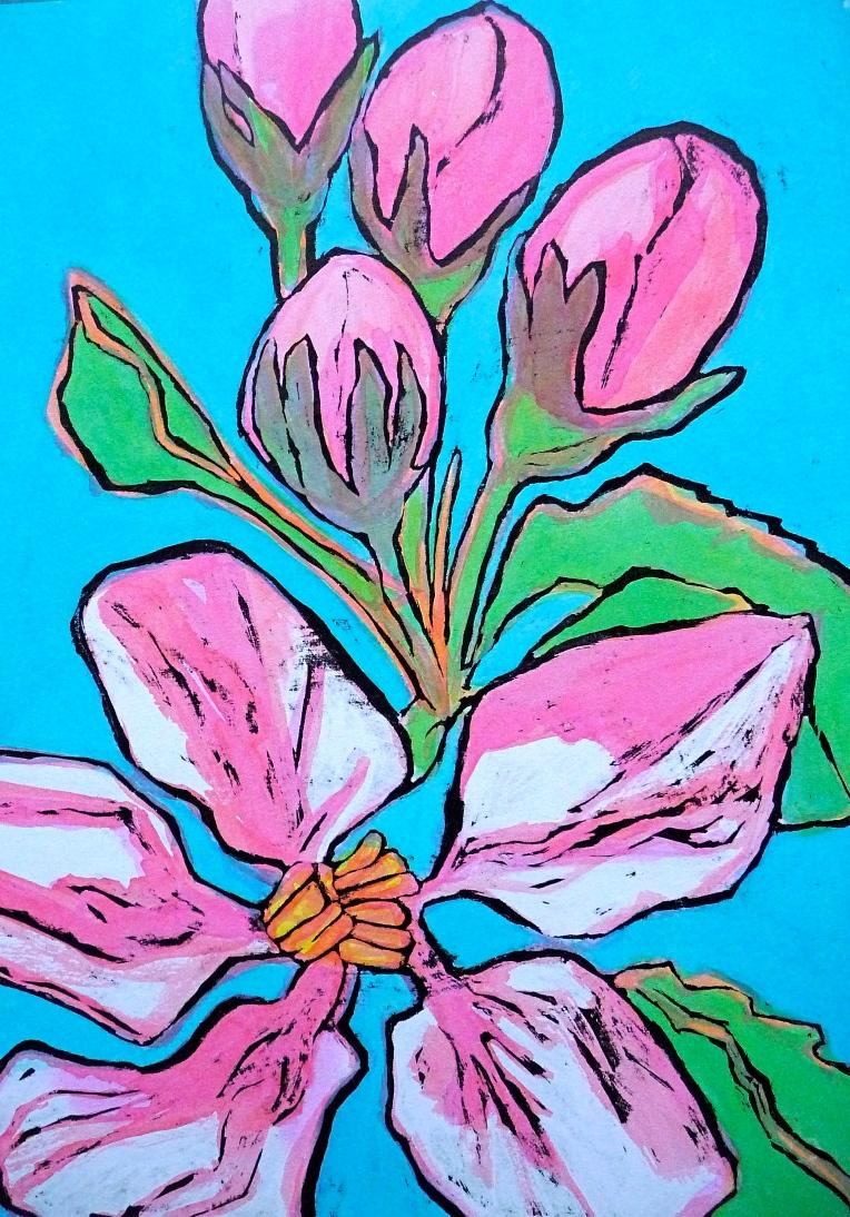 Spring apple blossom - ink - Jenny Hill